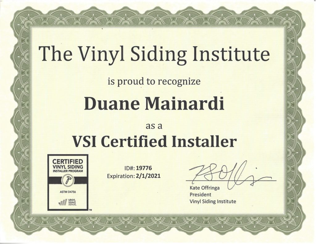 Awards certifications south jersey roofing marlton roofers the vinyl siding institute vsi certified installer 1betcityfo Choice Image
