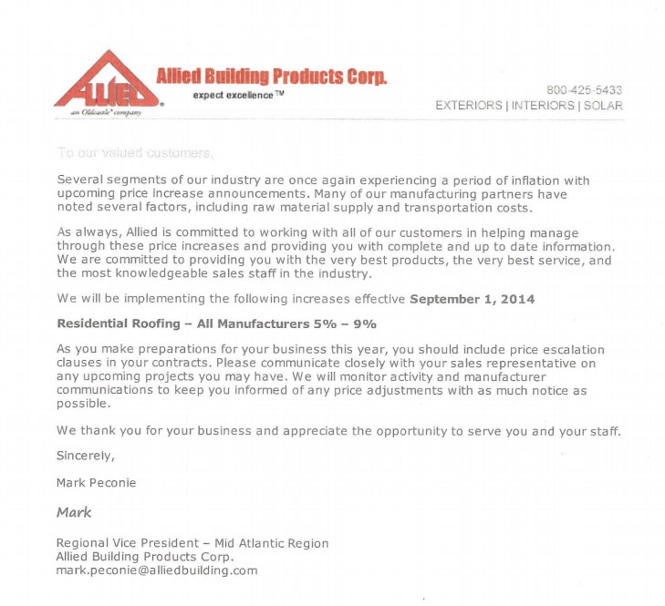 Residential Roofing Manufacturers Announce September